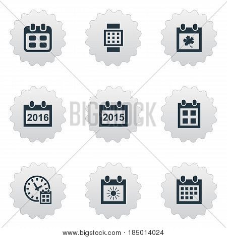 Vector Illustration Set Of Simple Plan Icons. Elements Date Block, Deadline, Event And Other Synonyms Summer, Hour And Date.