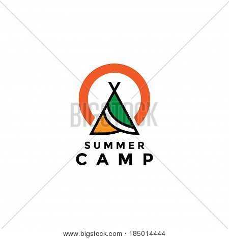 Summer camp holidays logo llustration vector and abstrack