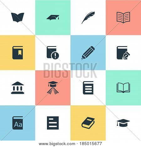 Vector Illustration Set Of Simple Knowledge Icons. Elements Plume, Graduation Hat, Important Reading And Other Synonyms School, Pencil And Pen.