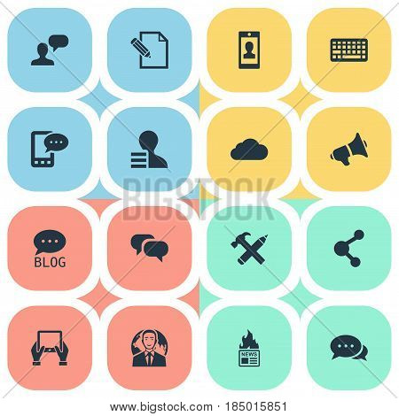 Vector Illustration Set Of Simple User Icons. Elements Gazette, International Businessman, Profile And Other Synonyms Contract, Pencil And Earnings.