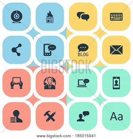 Vector Illustration Set Of Simple User Icons. Elements Profile, Post And Other Synonyms Laptop, Network And Missive.