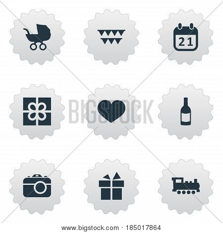 Vector Illustration Set Of Simple Holiday Icons. Elements Special Day, Camera, Baby Carriage And Other Synonyms Fizz, Steam And Camera.