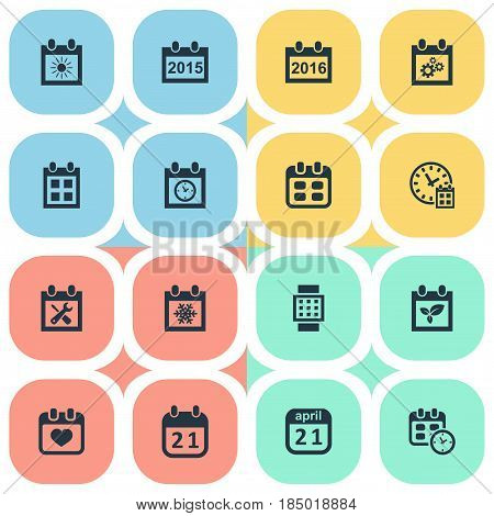 Vector Illustration Set Of Simple Time Icons. Elements Reminder, Annual, Agenda And Other Synonyms Plant, Smart And Day.