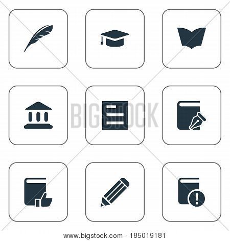 Vector Illustration Set Of Simple Reading Icons. Elements Pen, Tasklist, Recommended Reading And Other Synonyms Pencil, Textbook And School.