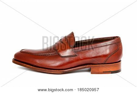cherry calf penny loafer shoe toe to left on white background. Horizontal image