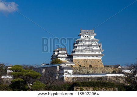 Himeji castle Kansai Japan historic landmark background against blue sky background