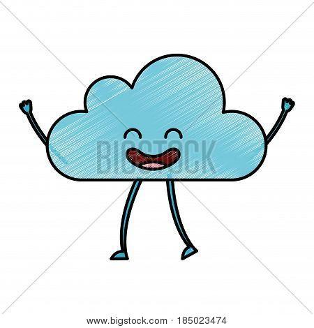 cloud climate kawaii character vector illustration design