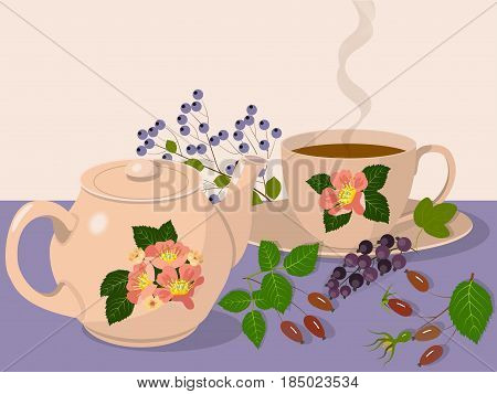 Teapot and cup with hot tea on the table, berries of a black-currant, a dogrose and a bird cherry, vector illustration