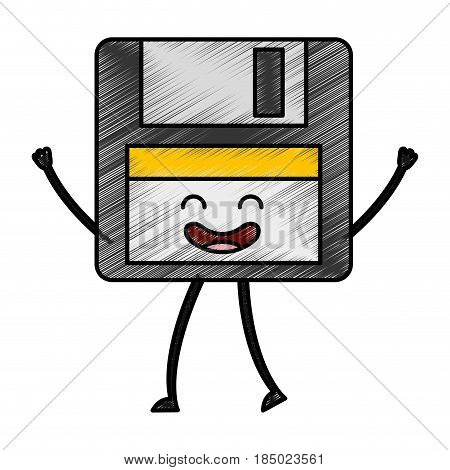 floppy disk kawaii character vector illustration design