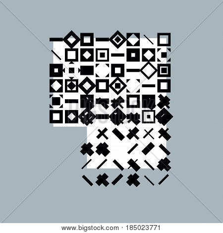 Abstract digital vector black background geometric illustration.