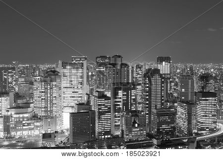 Black and White Osaka central business downtown view form Umeda sky building Japan