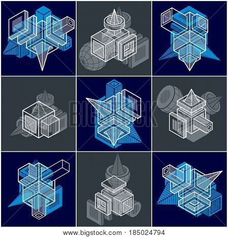 Abstract Vectors Set, Isometric Dimensional Shapes Collection.