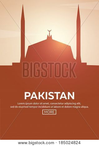 Travel Poster To Pakistan. Landmarks Silhouettes. Vector Illustration.