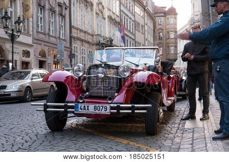 Prague, Czech Republic - April 30, 2017: Vintage Car In The Streets Of Mala Strana