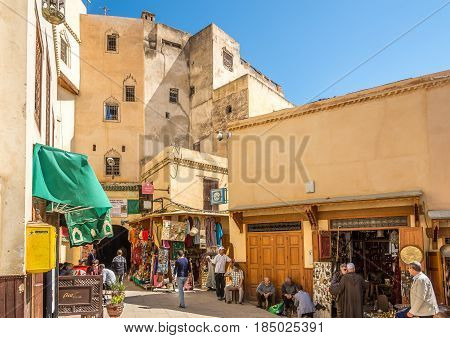 FEZ ,MOROCCO - APRIL 6,2017 - In the streets of old medina qaurters in Fez city. Fez city has been called the
