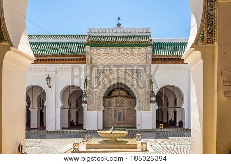 FEZ, MOROCCO - APRIL 6,2017 - View at the courtyard University of Al Quaraouiyine in Fez. Fez city has been called the