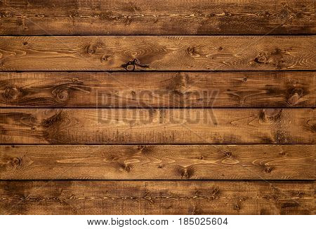 Medium brown wood texture background viewed from above. The wooden planks are stacked horizontally and have a worn look. This surface would be great as design element for a wall floor table etc...
