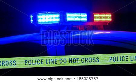 Police Car Siren With Boundary Tape