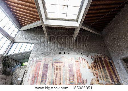 APRIL 3 2016. Torre Annunziata (Naples) Italy Ancient roman fresco represented a scene of Roman mitology in the Poppea's Villa