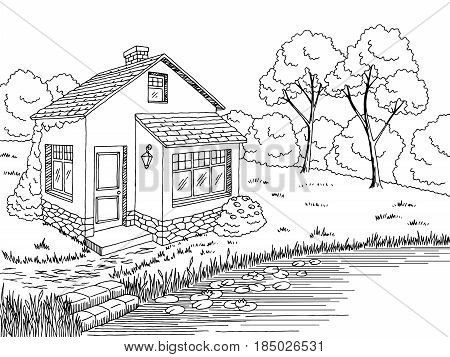 Lake house graphic black white landscape sketch illustration vector