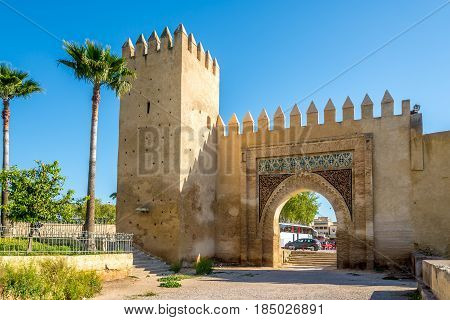 View at the gate Bab al-Amer in Fez city of Morocco