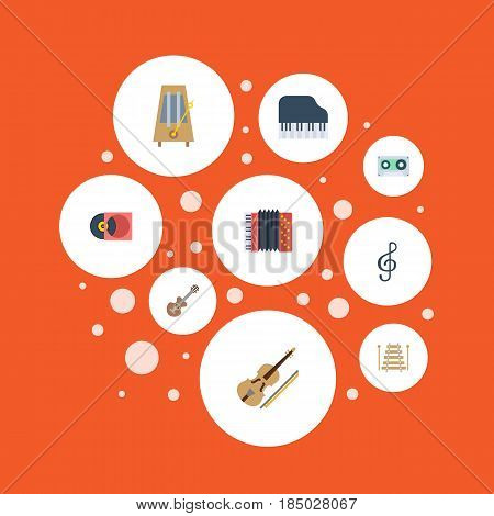 Flat Harmonica, Quaver, Octave Keyboard And Other Vector Elements. Set Of Music Flat Symbols Also Includes Piano, Clef, Acoustic Objects.