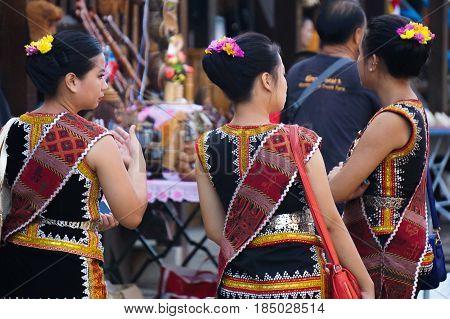 Penampang,Sabah-May 30,2016:Kadazandusun girls of Sabah in traditional & colorful costume during Kaamatan festival.Harvest festival,its a major yearly event for the Kadazandusun in Sabah,Borneo.
