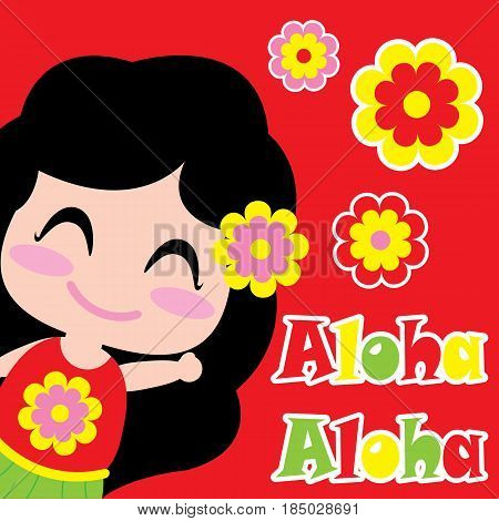 Cute girl says Aloha vector cartoon, summer postcard, wallpaper, and greeting card, T-shirt design for kids