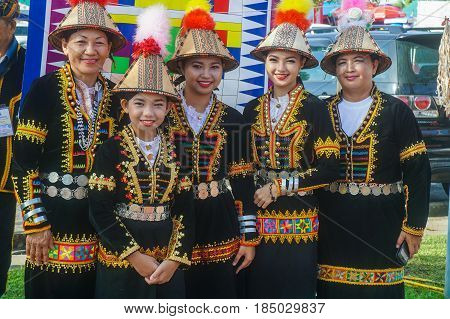 Penampang,Sabah-May 30,2016:Kadazandusun girls of Sabah in traditional costume during Kaamatan festival.Also known as Harvest festival,its a major yearly event for the Kadazandusun in Sabah,Borneo.