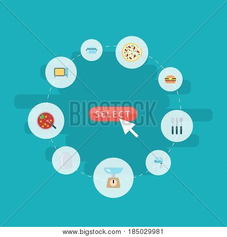 Flat Casserole, Blender, Fast Food And Other Vector Elements. Set Of Gastronomy Flat Symbols Also Includes Microwave, Can, Mixer Objects.