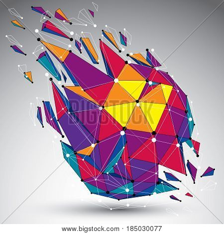 Abstract colorful vector low poly wrecked object with black lines and dots connected. 3d origami futuristic form with lines mesh.