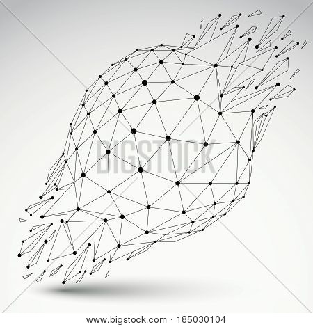 3d vector digital wireframe spherical object broken into different particles and refractions geometric polygonal structure with lines mesh. Low poly shattered shape transparent lattice form.