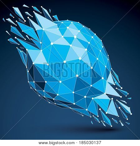 3d vector low poly transform object with connected black and white lines and dots blue geometric wireframe shape with fractures. Asymmetric perspective shattered form.