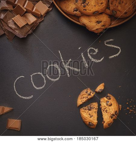 Chocolate Chip Cookies Over Dark Background