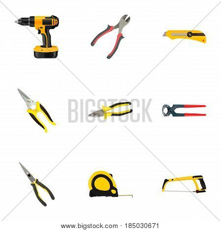 Realistic Nippers, Arm-Saw, Length Roulette And Other Vector Elements. Set Of Construction Realistic Symbols Also Includes Pliers, Clippers, Knife Objects.
