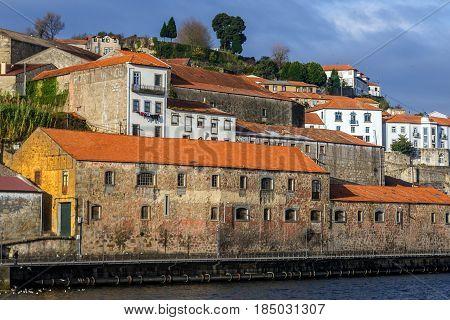 Wine cellars buildings in Vila Nova de Gaia Portugal