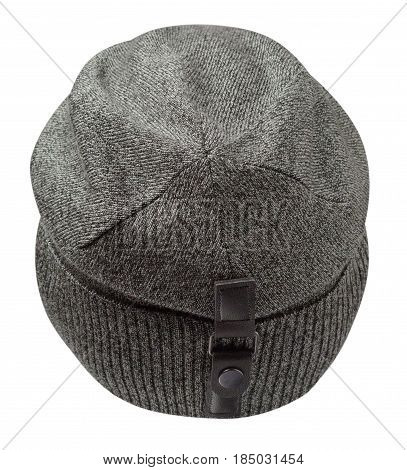 Hat Isolated On White Background .knitted Hat . Gray Hat