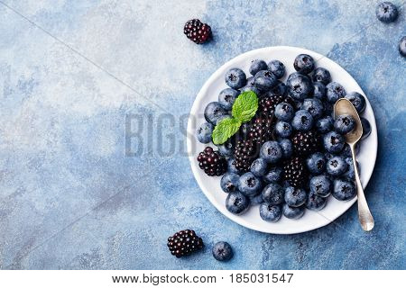 Fresh Blueberry And Blackberry Berries. Top View. Copy Space.