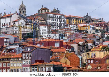 Porto cityscape. View from Vila Nova de Gaia city Portugal