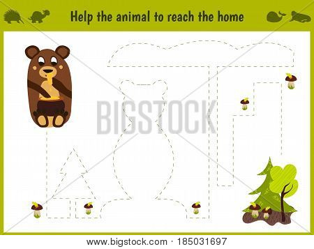 Cartoon illustration of education. Matching game for preschoolers to hold a wild animal bear home. All pictures are isolated on white background. Vector illustration