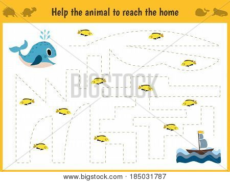 Maze game. Educational children cartoon game for children of preschool age. Help to find the way home in the sea the whale and feed him fish. Vector illustration