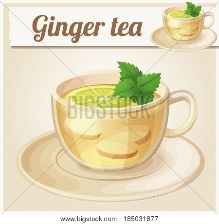 Herbal tea with ginger root and mint illustration. Cartoon vector icon. Series of food and ingredients for cooking.