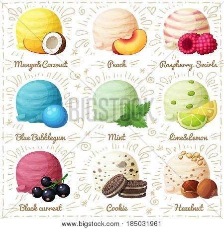 Set of cartoon vector icons isolated on white background. Ice cream scoops with different fruit and berry flavors. Coconut ice cream, Peach, Raspberry Swirls, Blue Bubblegum, Mint, Lime and Lemon, Black currant, Cookies, Hazelnut. Part 5