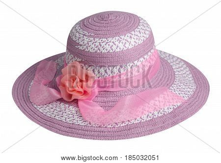 Woman  Hat Isolated On White Background .women's Beach Hat . Colorful Hat
