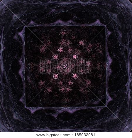 Abstract illustration of a square pattern with a purple frame of dashed lines with a picture of chaotically located stars on a black background