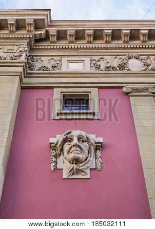 Close up on National Theatre of Sao Joao in Porto Portugal