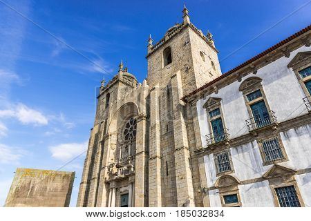 Front view of Se Cathedral in Porto city Portugal