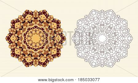 Mandala coloring page abstract oriental ornament. Zenart antistress template for hand coloring. Vector illustration.
