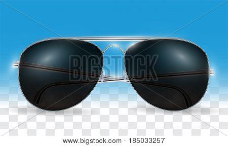 real 3d transparent black sun glasses vector