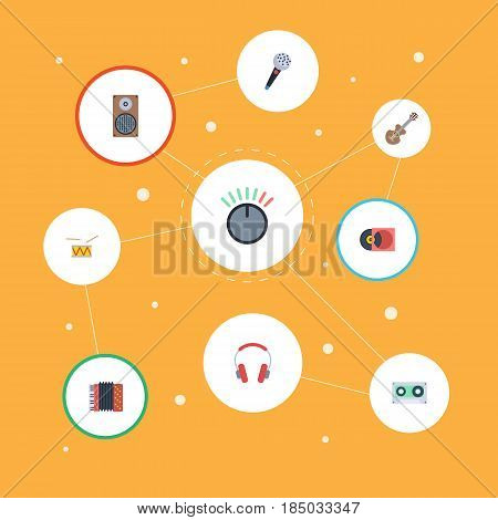 Flat Acoustic, Tape, Knob And Other Vector Elements. Set Of Music Flat Symbols Also Includes Headphones, Knob, Microphone Objects.